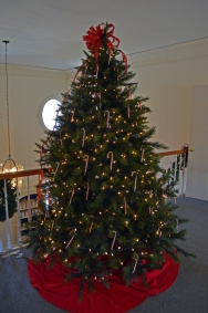 Christmas tree in the Visitor Center at Ferry Farm.