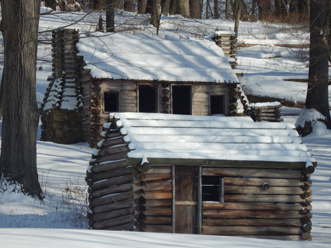 Reconstructed winter cabins at Morristown NHP