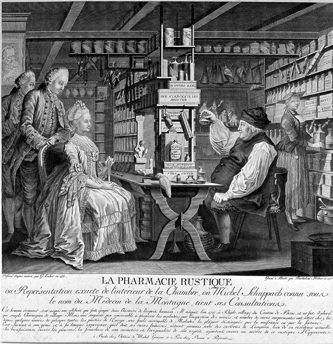 Michel Schuppach in his pharmacy examining a young woman's urine who is seated opposite him awaiting the result. Line engraving by B. Hübner, 1775, after G. Locher, 1774