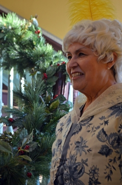 Betty Washington Lewis (Barbara Escamilla Cochran) welcomes guests to her home and offers a holiday toast.