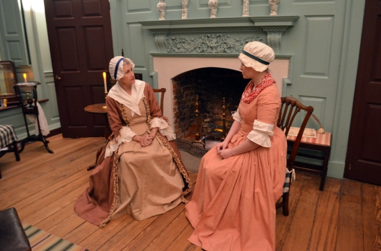 Mary Washington (Anne Lloyd) admonishes Nancy Alexander Lewis (Corinn Keene) to be mindful of her duty as a Patriot woman.