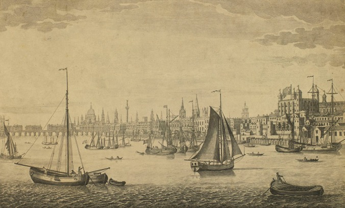 'The South East Prospect of London from the Tower to London Bridge' 1746 by John Maurer
