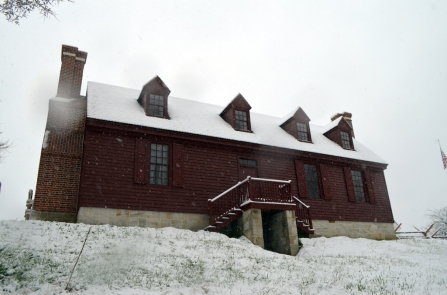 View of the front of the reproduction Washington house.