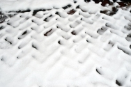 Bricks under the snow.