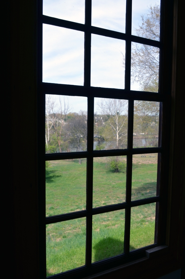 View of Fredericksburg and the river from a window.