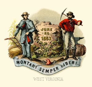West Virginia state coat of arms illustrated in 1876 by Henry Mitchell