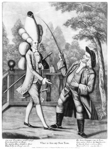 "In this print titled ""What is This My Son Tom"" and published by R. Sayer & J. Bennett in 1774, an ""honest farmer"" is seen with adult son, who has large, elaborate hairstyle and stylish clothes following the macaroni trend. Credit: Library of Congress"