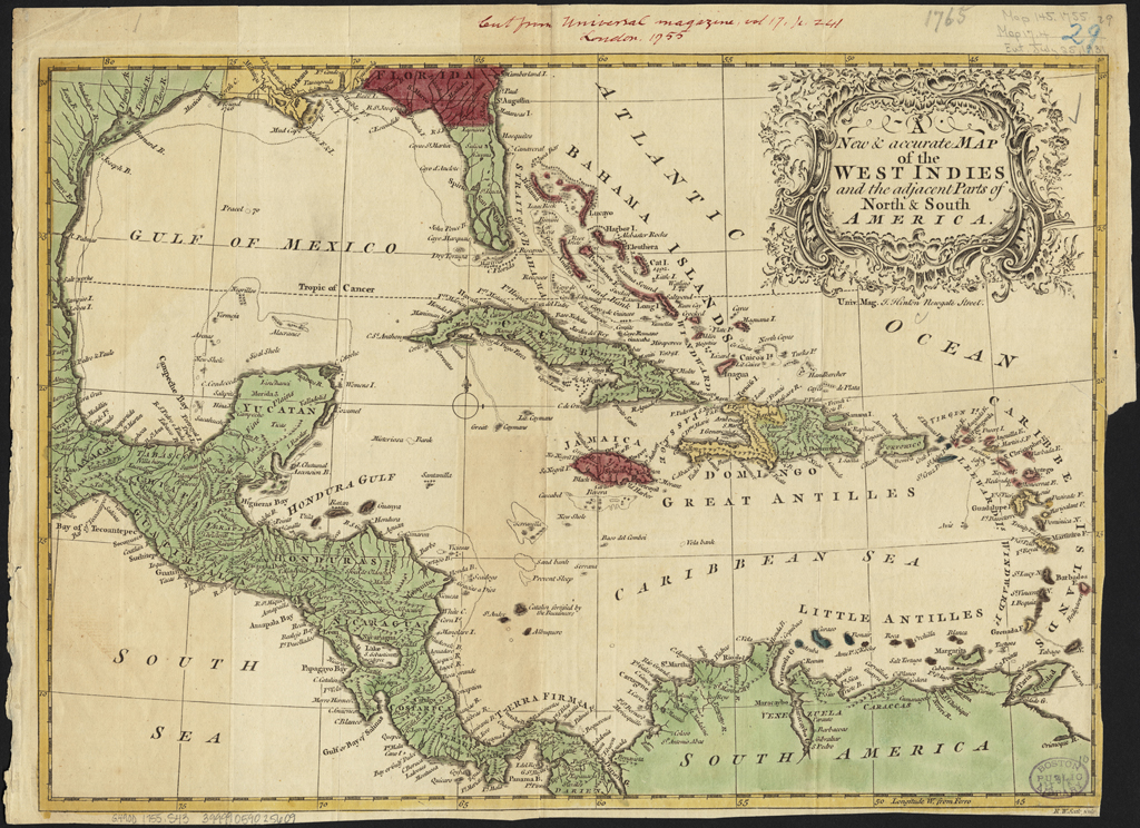 A new & accurate map of the West Indies and the adjacent parts of North & South America (1755) by William Richard Seale