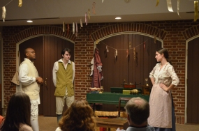(l-r) Roody Labaze as Sir Gayless, Christian Humphrey as The Lying Valet Timothy Sharp, and Brianne Cook as Miss Kitty Prye