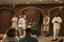 The cast of the Lying Valet: (l-r) Brianne Cook, Gabrielle Fox, Wilson Pezzuto (director), Christian Humphrey, and Roody Labaze