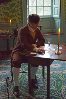 Sam Fulton as Henry Mitchell, Fredericksburg merchant, alone in the Drawing Room.
