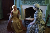Anne Lloyd as Mary Washington (L) and Corinn Keene as Nancy Alexander Lewis (R) discuss how the war endangers their loved ones.