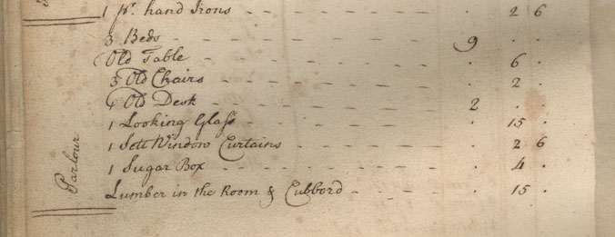 Parlor on the Augustine Washington 1743 Probate Inventory