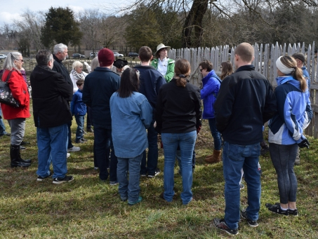 Archaeologist Laura Galke updates visitors on the latest archaeological findings.