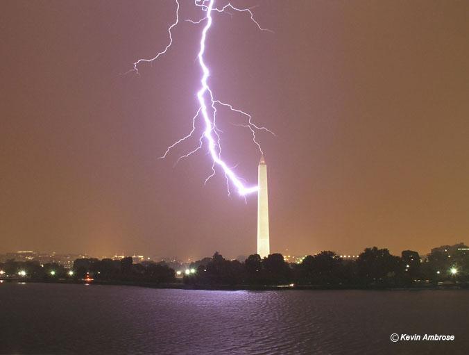 Lightning striking the Washington Monument, July 1, 2005.