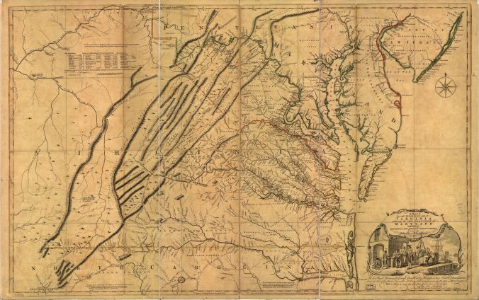 A map of the most inhabited part of Virginia containing the whole province of Maryland with part of Pensilvania, New Jersey and North Carolina, 1747
