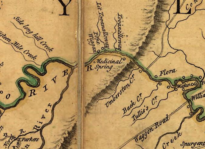 Enlargement of Fry-Jefferson Map showing Medicinal Spring