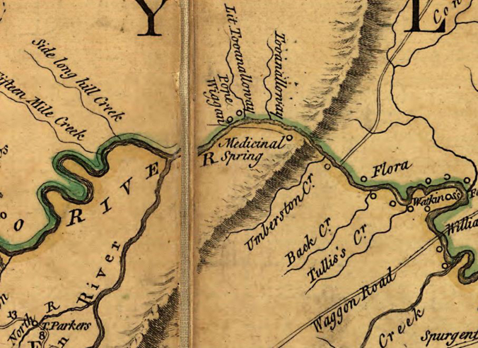 Enlargement of Fry-Jefferson Map showing Medicinal Spring