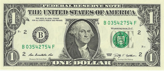 Current US $1 bill