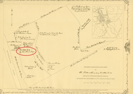 """George Washington's Map of """"The Fields Where My Mother Lives"""" As Surveyed September 13, 1771 and Platted in 1932"""