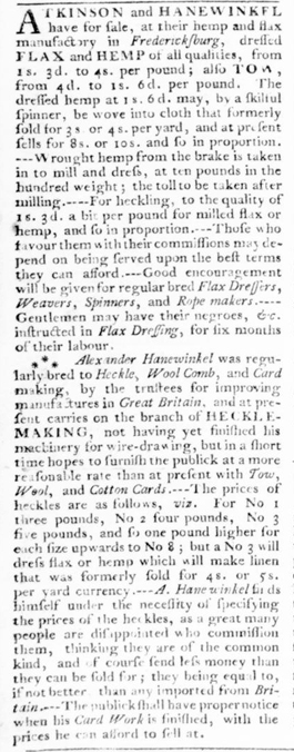 Ad for Atkinson & Hanewinkel, Virginia Gazette, September 1776
