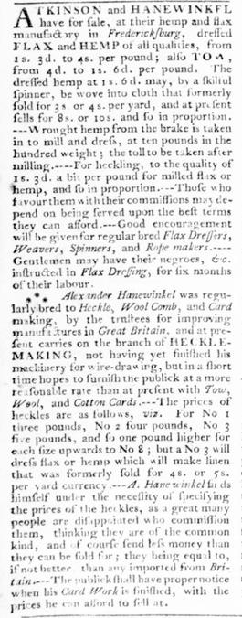 Ad for Atkinson & Hanewinkel, Virginia Gazette, September 1776