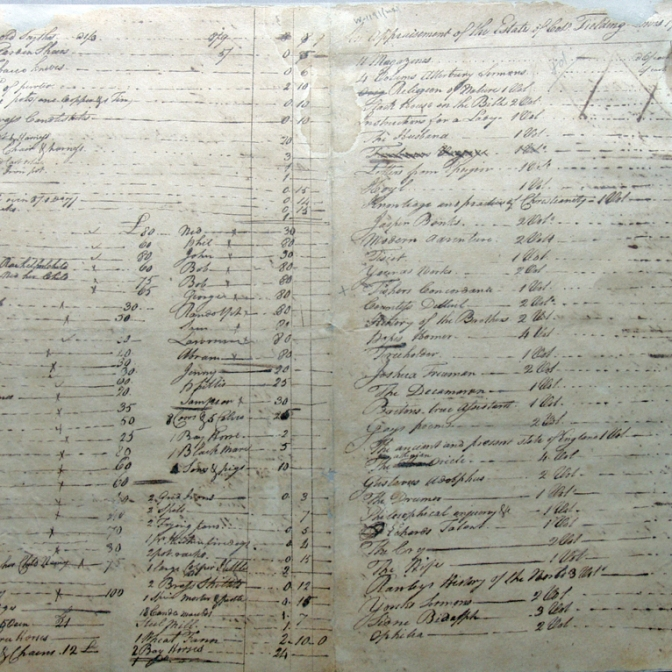 Fielding Lewis's Probate Inventory, 1781 , pg. 1