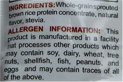 Label with an allergen warning