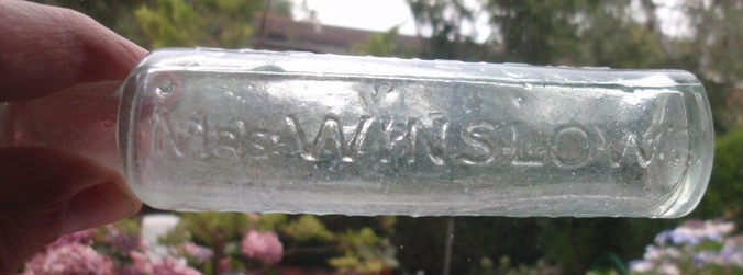 Complete Mrs. Winslow's Soothing Syrup bottle