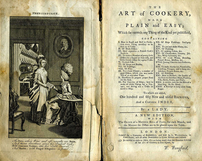 Hannah Glasse's 'Art of Cookery' frontispiece