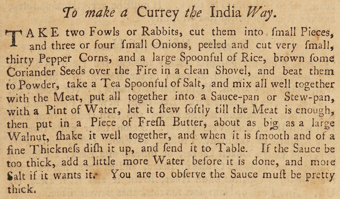 'To make a Currey the India Way' from Hannah Glasse