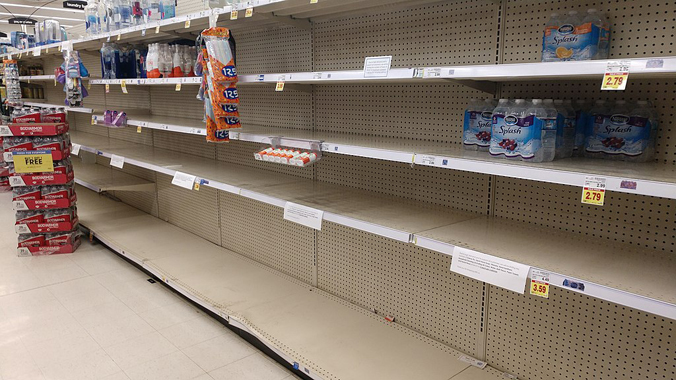 Empty bottled water shelves