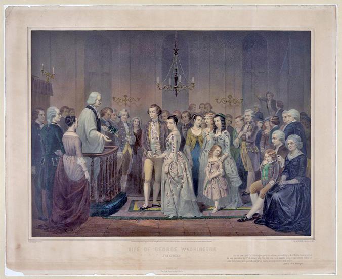 The Wedding of Washington and Martha Custis (1854) by Junius Brutus Stearns